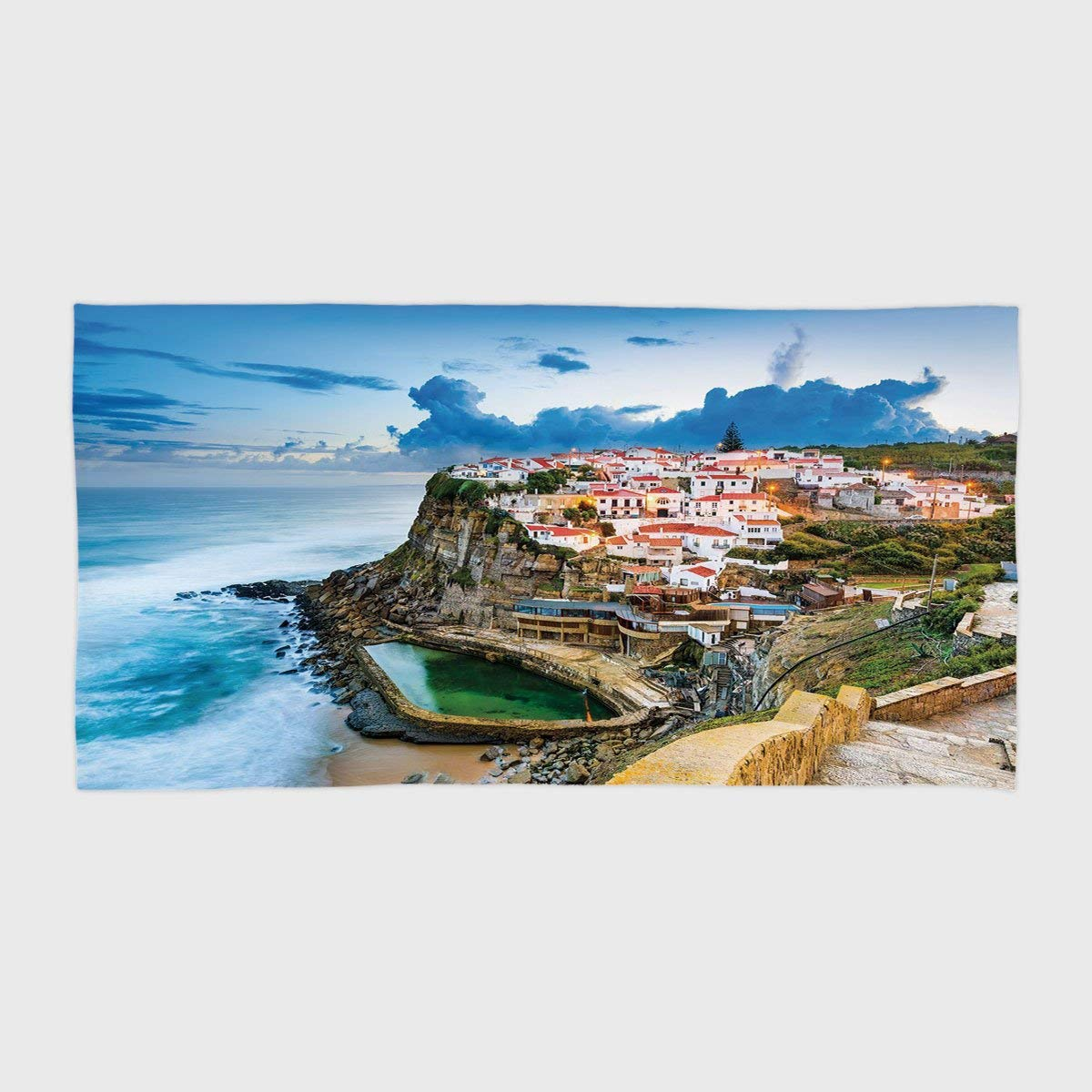 One Side Printing Hotel SPA Beach Pool Bath Hand Towel,Mediterranean Portuguese Town Coast Azenhas do Mar Beach by Cliffs Village Shore Theme Multicolor,for Kids Teens and Adults