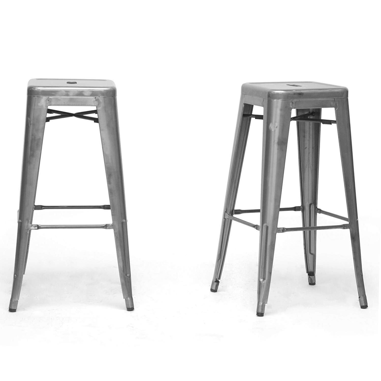 Baxton Studio French Industrial Modern Bar Stool, Gunmetal, 16.25-Inch, Set of 2