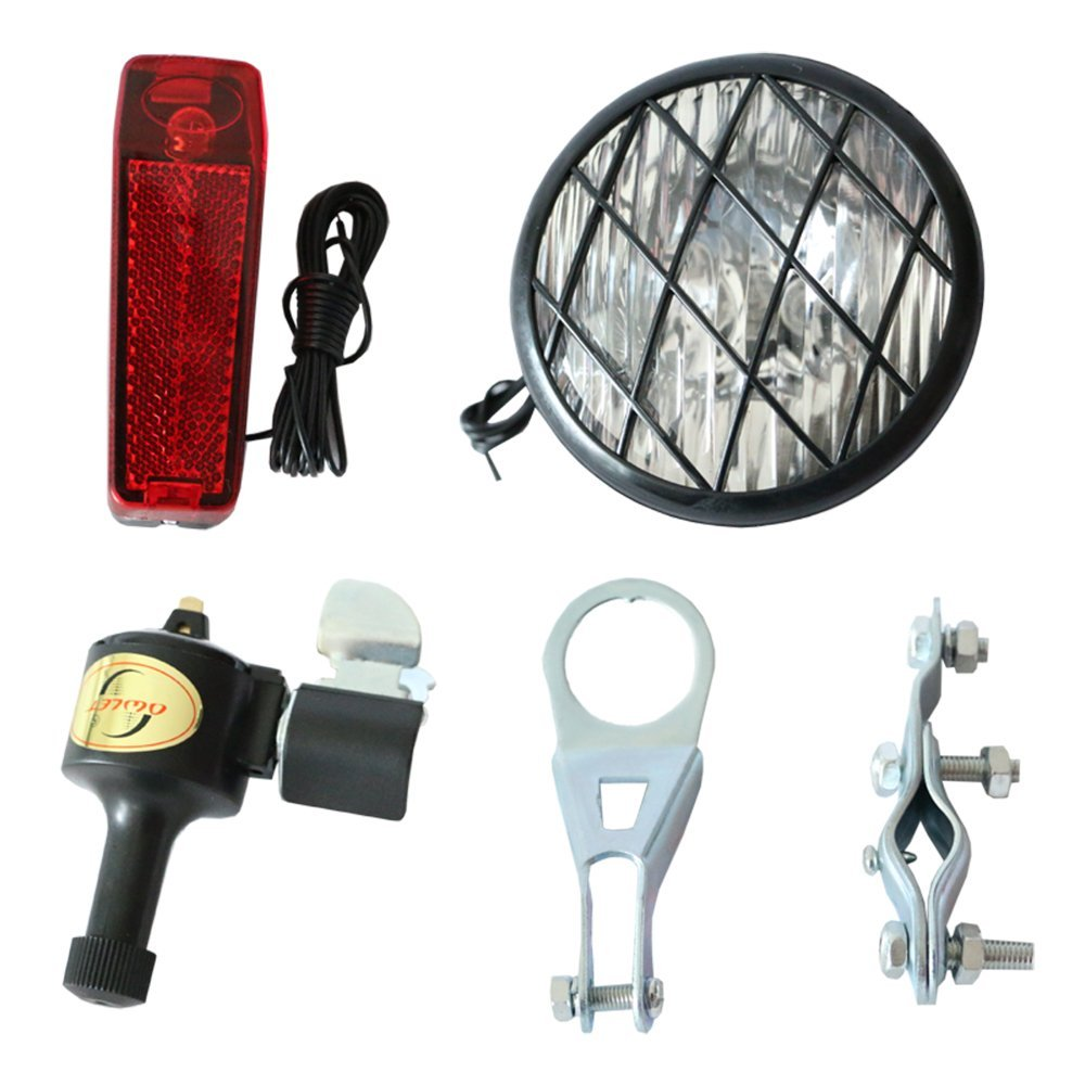 Head and Tail Combined Bike Generator Light Kit-White Front & Red Back Lamps, Mounting Hardware Included, 6V 3W, Energy-saving Bicycle Dynamo Kit