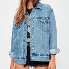 High Quality Blue Oversized Long Denim Jackets Distressed Womens Jean Jacket Wholesale Denim Jackets Suppliers