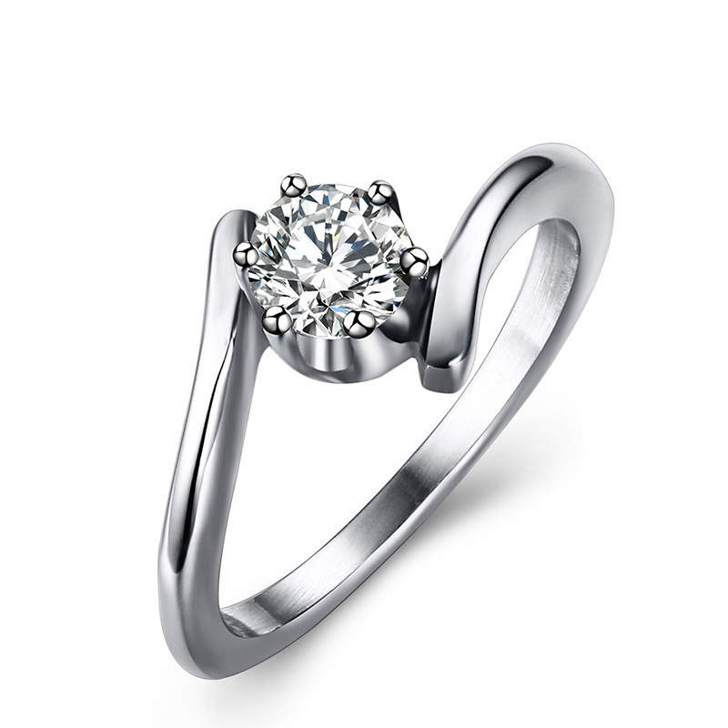 Popular Creative Engagement Jewellery with Six Prongs Setting 316 Steel Stainless Rings for Women