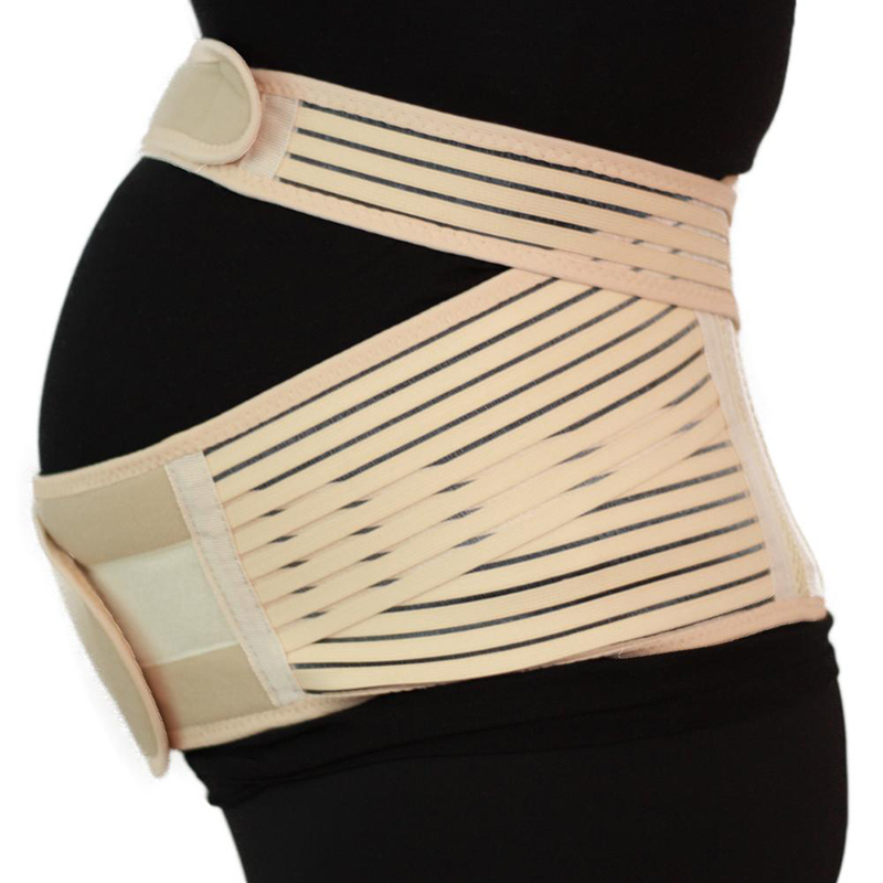 Maternity Pregnancy Support Belt Waist Back Band Brace Beige Color XL