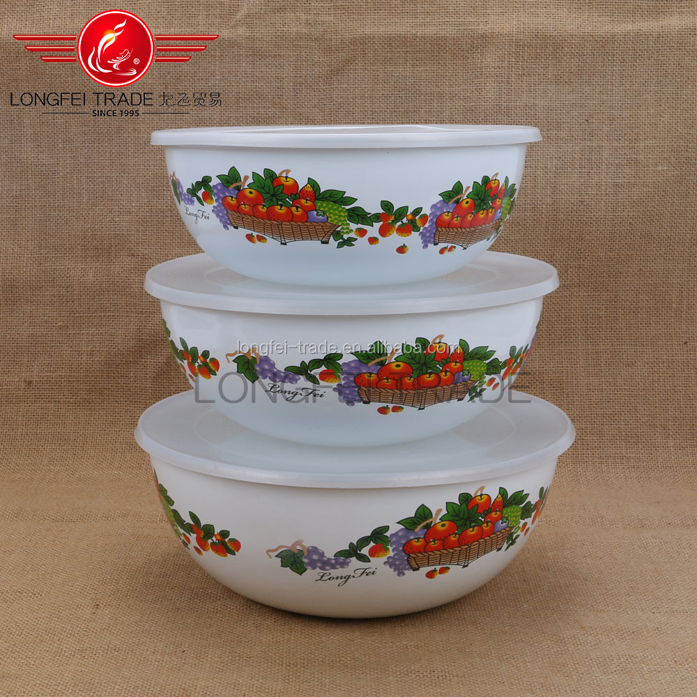3 pcs Colorful Enmaei Drum-Shaped Utensil mixing Bowl With Lid