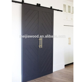 An Plank Style Waves Interior Double Flush Door Slab With Barn Hardware Product On