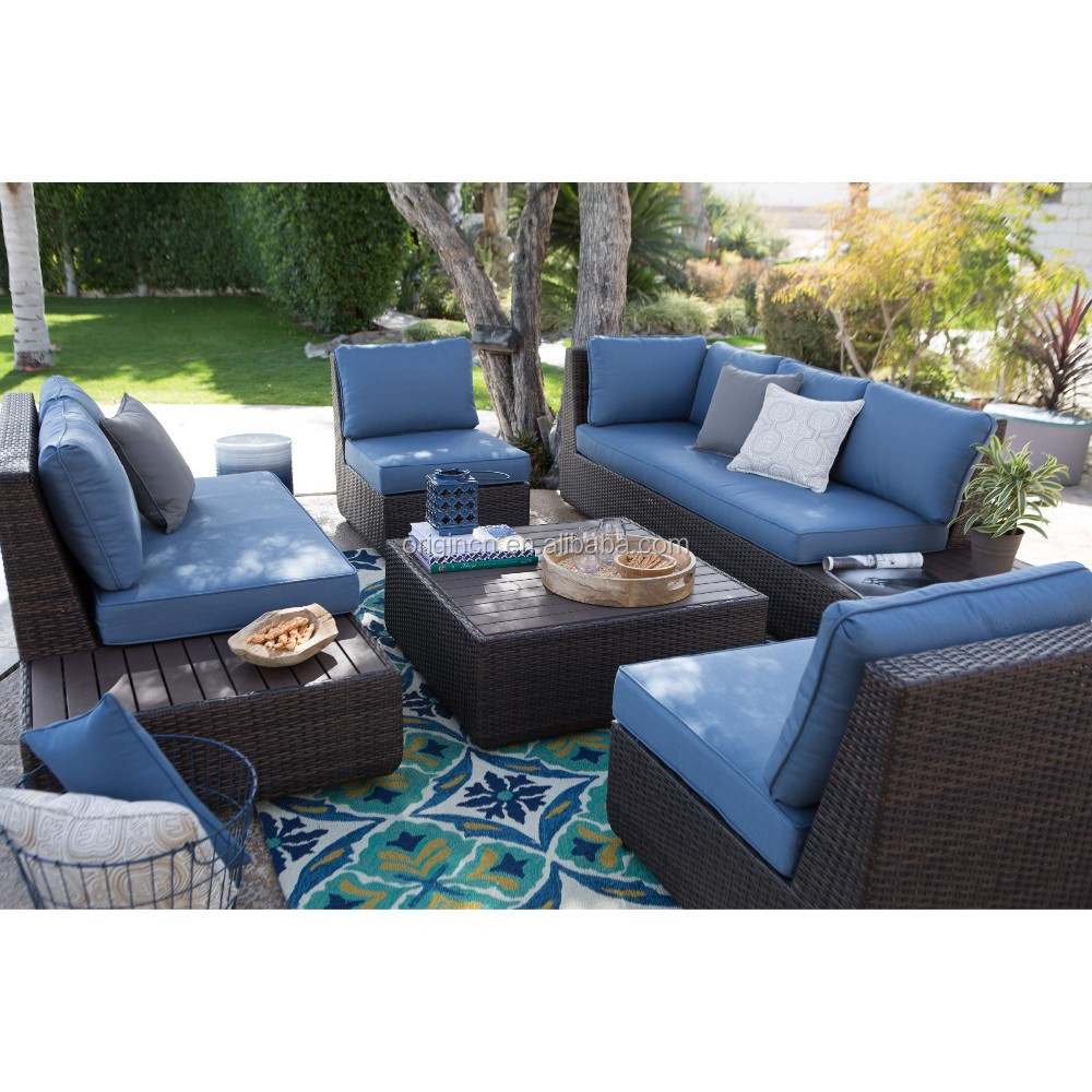 Pacific Navy Blue Aluminum Topped Leisure Garden Outback Sectional Sofa Set Patio  Furniture Factory Direct Wholesale