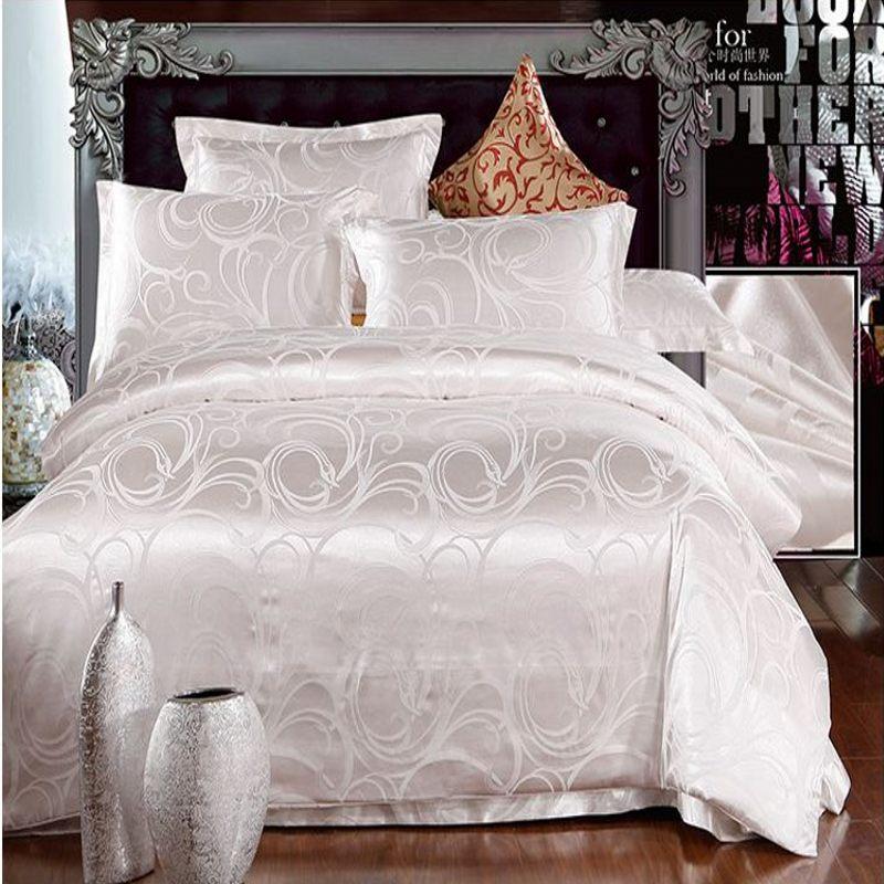 white jacquard silk duvet quilt comforter cover queen king size 4pcs satin doona bed linen. Black Bedroom Furniture Sets. Home Design Ideas