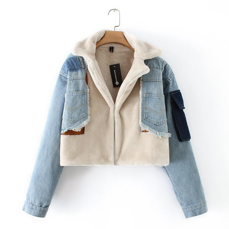 उच्च गुणवत्ता के साथ डेनिम windbreaker जैकेट अटे ऊन कोट ऊन जैकेट पैच के साथ महिलाओं के लिए