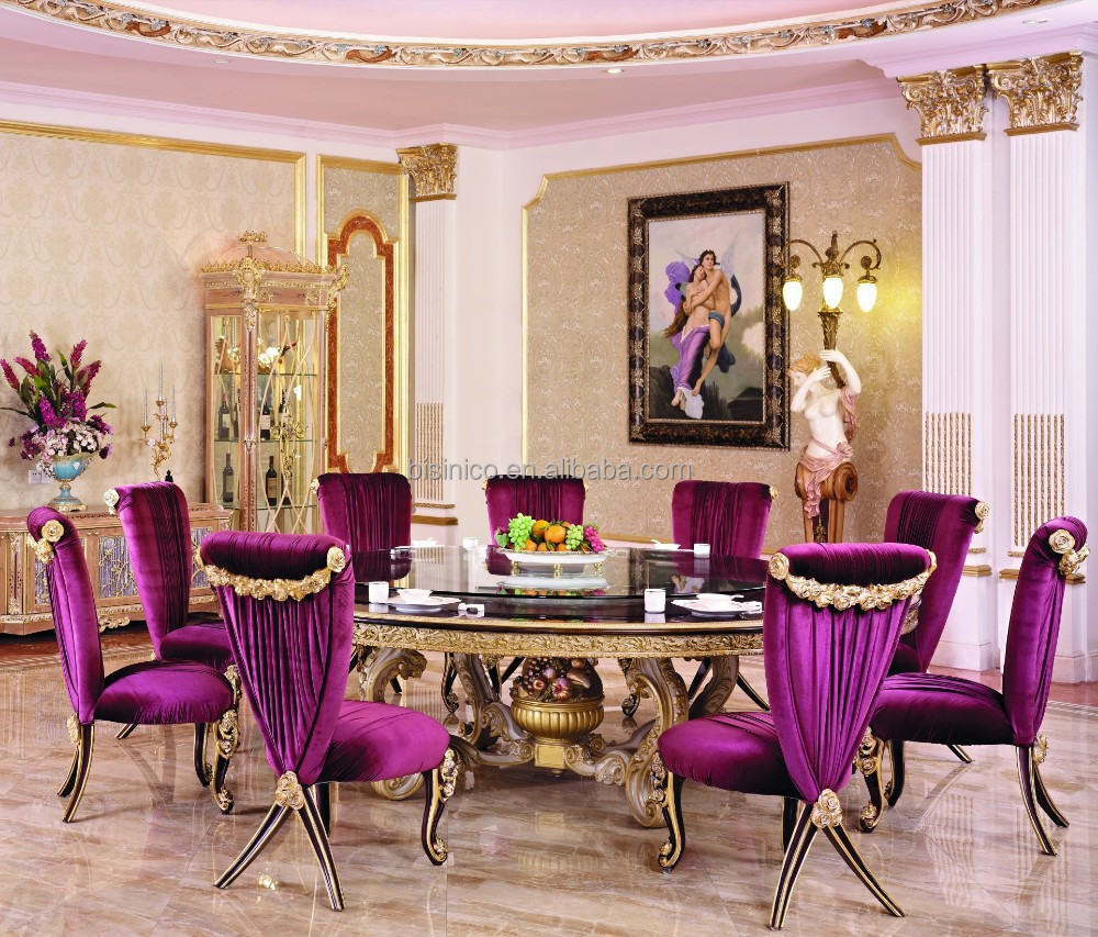 Luxury Wood Carving Round Dining Table For 10 People With Purple Chair French New Classic Room Furniture