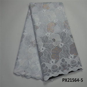 Newest design african White cotton swiss voile big lace for dress in party