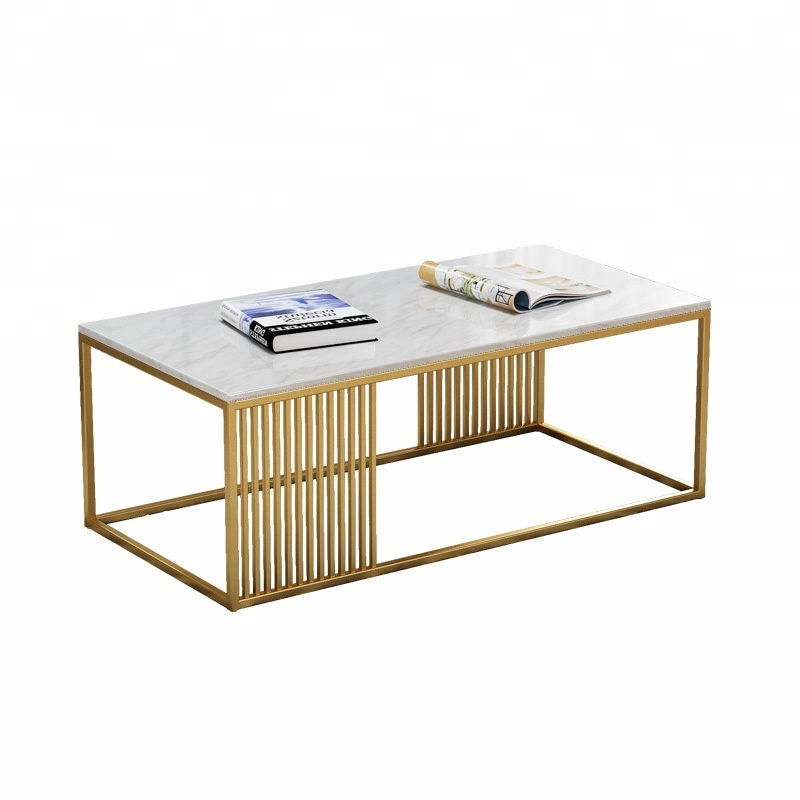 White Marble Coffee <strong>Table</strong> - Modern Rose Gold Coffee <strong>Tables</strong> for Living Room - Square