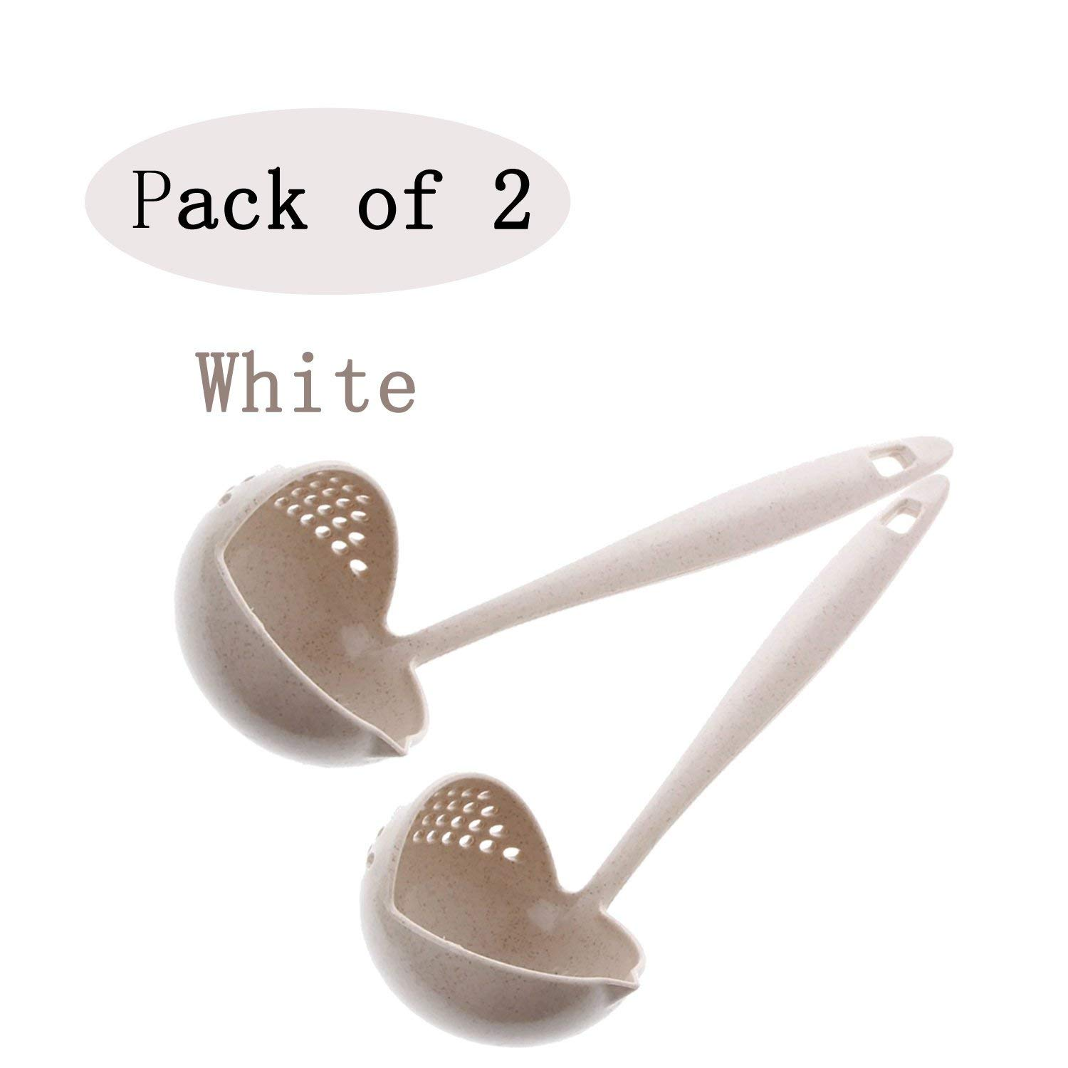 Qenci 2 in 1 Kitchen Tools Healthy Durable Wheat Straw Soup Spoon for Soup Egg Dumplings Hot Pot (White, 2Pcs)