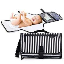 Black Breton Stripes Portable Diaper Changing Pad Clutch Travel Changer Station Kit for Baby and Infant with Extra Long Mat