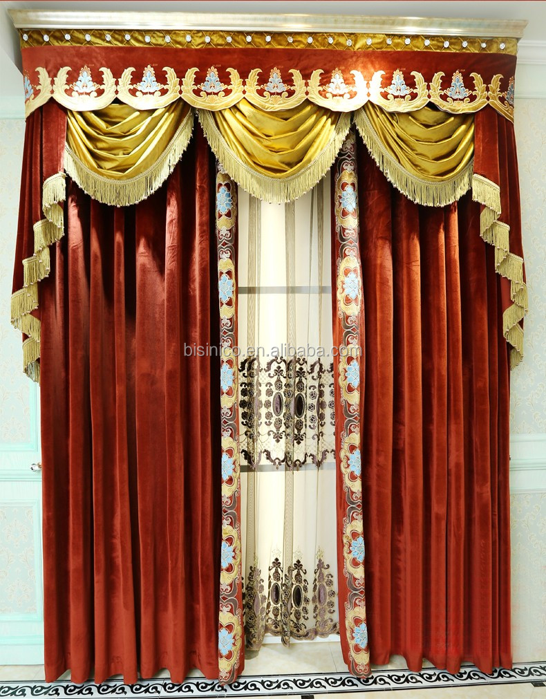 Red velvet window curtains - Royal Home Cinema Design Curtain Elegant Gold And Red Velvet Curtain Home Decorated Blackout
