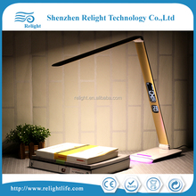 Led table lamp for reading with arm clock, foldable arm different veiwing angle
