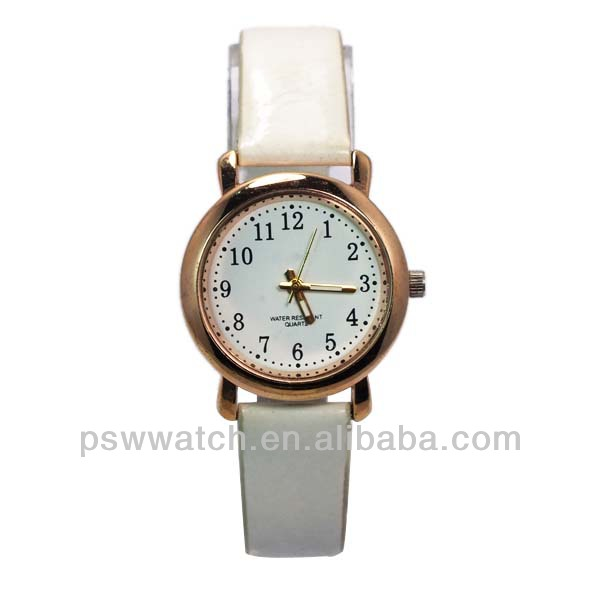 rose gold white leather small face quartz women watches