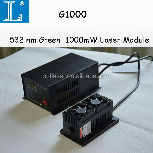Good stability laser module, diode 520nm/532nm green laser module 1000mW(1W), TTL/anolog modulation available laser for sale.