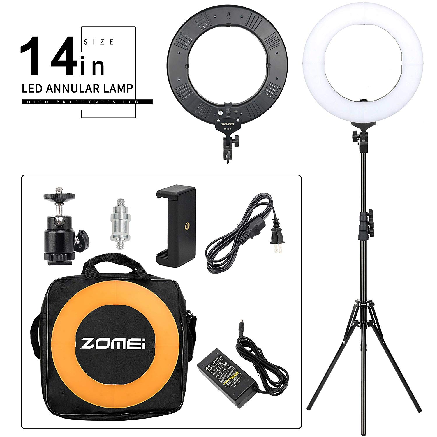 Zomei 14-inch LED Ring Light Kit Dimmable 41W 5500K with One-Piece Warm Color Filter Heavy Duty Light Stand Phone Holder for Makeup YouTube Video