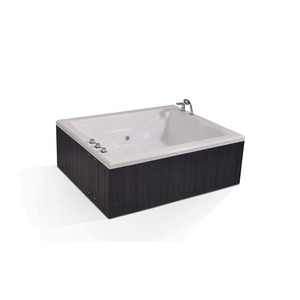 UPC approval wooden skirt freestanding bathroom bath tub whirlpool 1800 mm rectangular shower stand alone bathtub