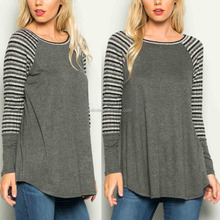 Elegant Women Loose Fit Fashion Long Sleeve Heather Charcoal & Black Stripe Baseball Tunic Tops