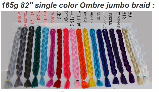Wholesale synthetic braiding hair marley ombre braids single color in stock
