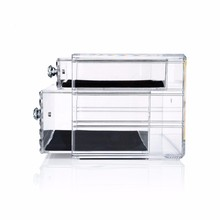 2018 China Manufacturer New High-quality Cosmetics Storage Organizer Clear Plastic Jewelry Case With 2 Drawers