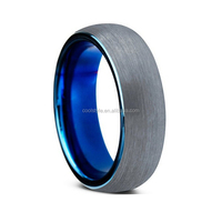 2016 best selling tungsten wedding ring blue color top center silver brushed