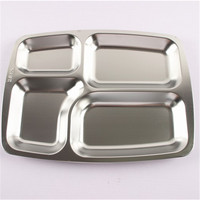 canteen serving tray with compartments Stainless steel school lunch plate cheap price