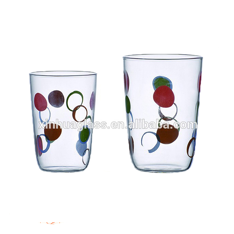 China wholesale cheap glass tumbler applique cups from Xinhua Glass