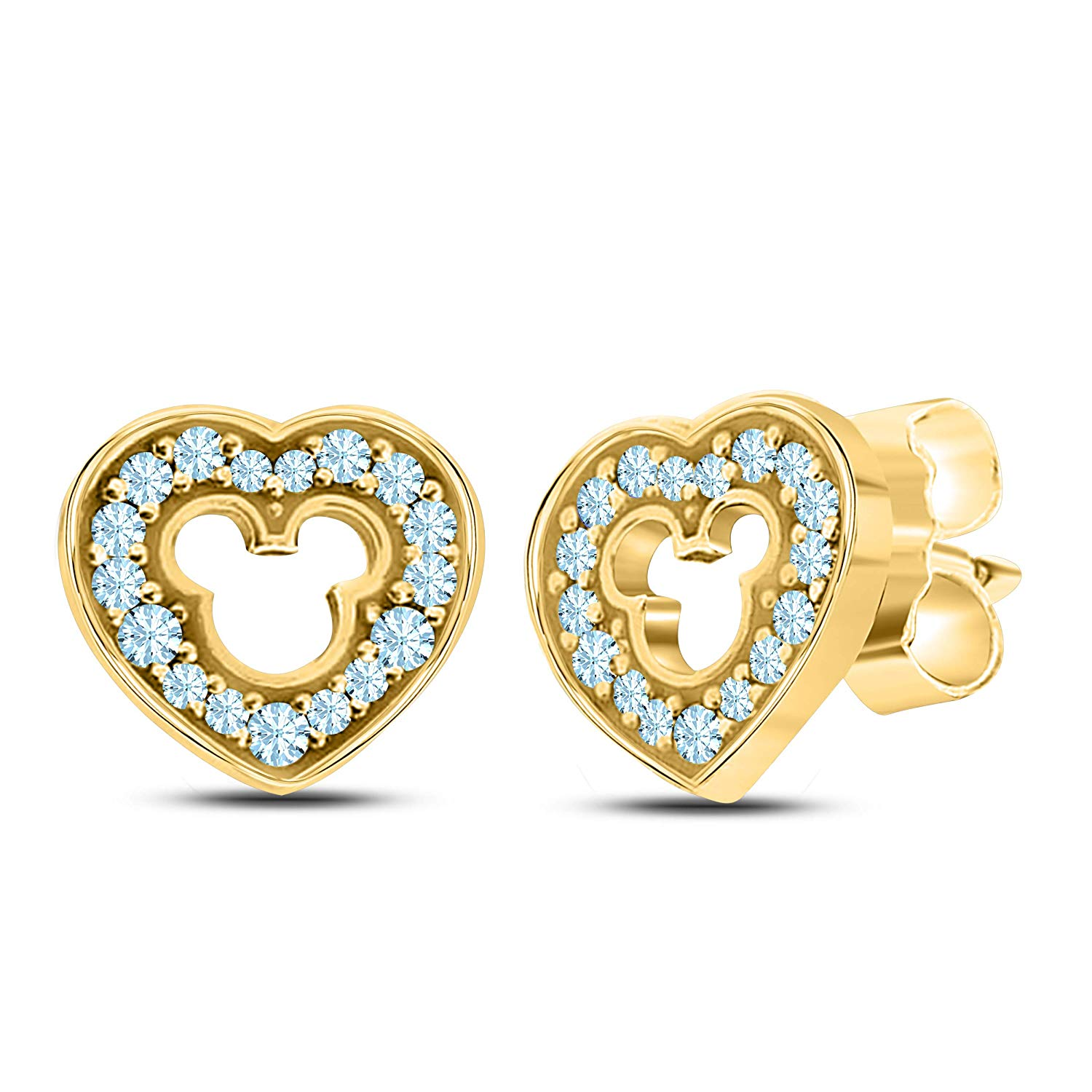 Get Quotations · Love Heart Micky Mouse 925 Sterling Silver 14k Yellow Gold  Plated Stud Earrings with Fashion Aquamarine 2d55a4ac22c6