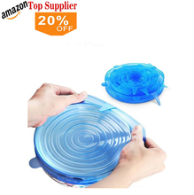 Amazon best sellers 6 pz 100% food grade <span class=keywords><strong>silicone</strong></span> stretch <span class=keywords><strong>coperchi</strong></span> copertura
