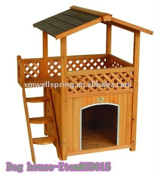 Doble casa de madera perro con escalera buy product on - Casas para gatos de madera ...