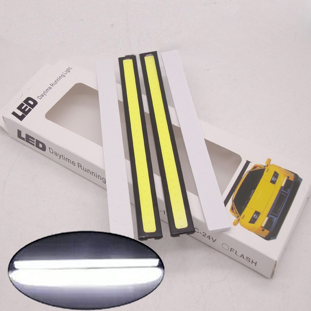 2PCS Waterproof Aluminum High Power 6W 6000K White Xenon Slim COB LED DRL Daylight Driving Daytime Running Fog Light for All Vehicles with 12V Power (White)