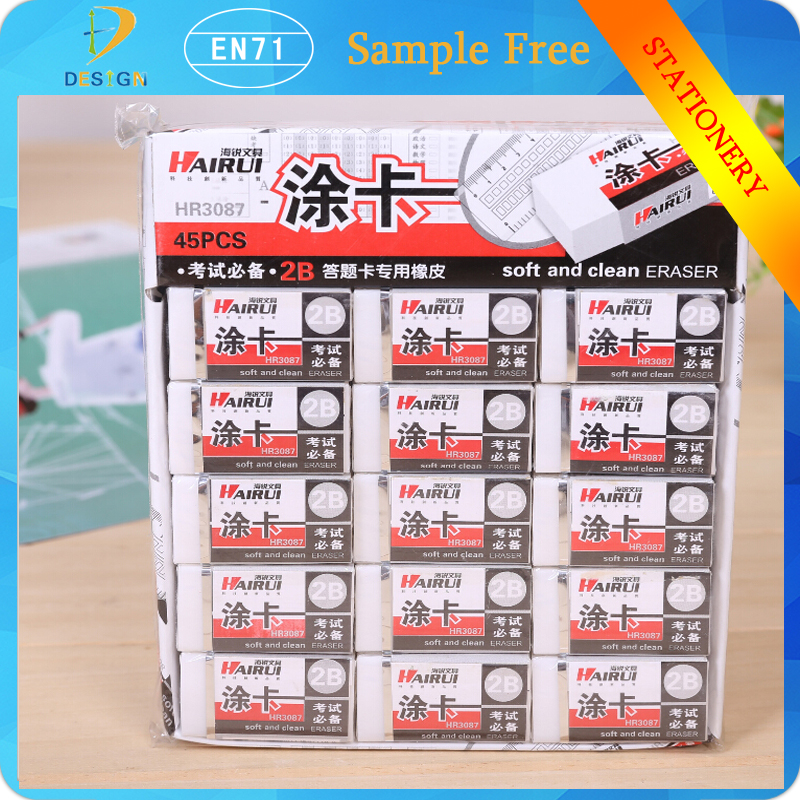 Wholesale office stationery professionnal exam drawing square shape white 2B PVC erasers for school supplies