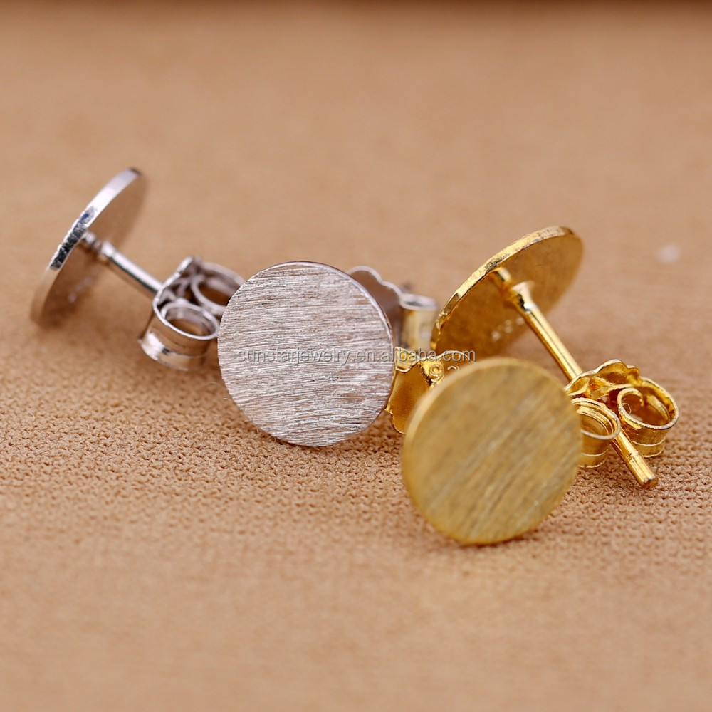 Pure 925 Silver And 14k Gold Plated Small Round Stud Earrings 2016 ...