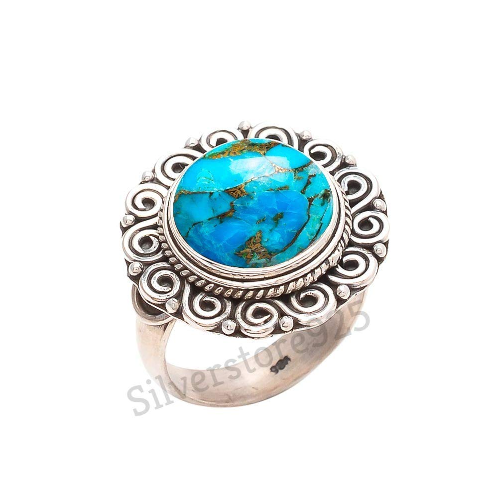 Blue Copper Turquoise Ring 925 Sterling Silver Turquoise Stone Gemstone Ring For Girl Women Gift Ring Size 4 5 6 7 8 9 10 11 12 13 14 15 16