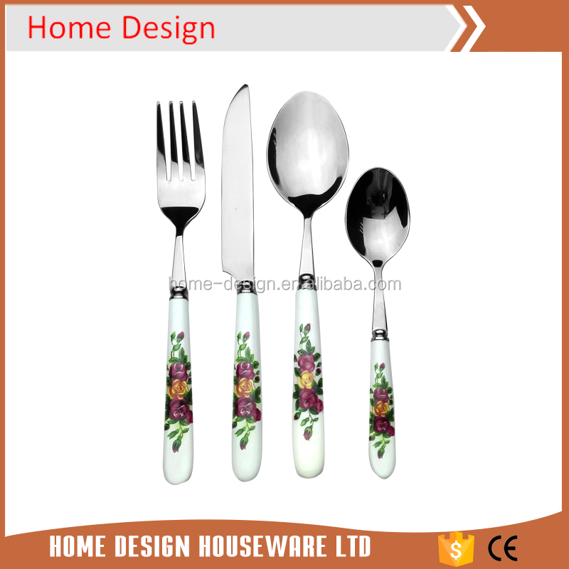 korean style cutlery including ceramic spoon fork knife set