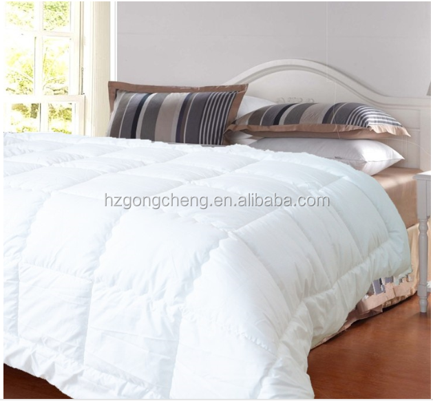 New style 100% polyester down-proof brushed quilt cheap price than down cream white