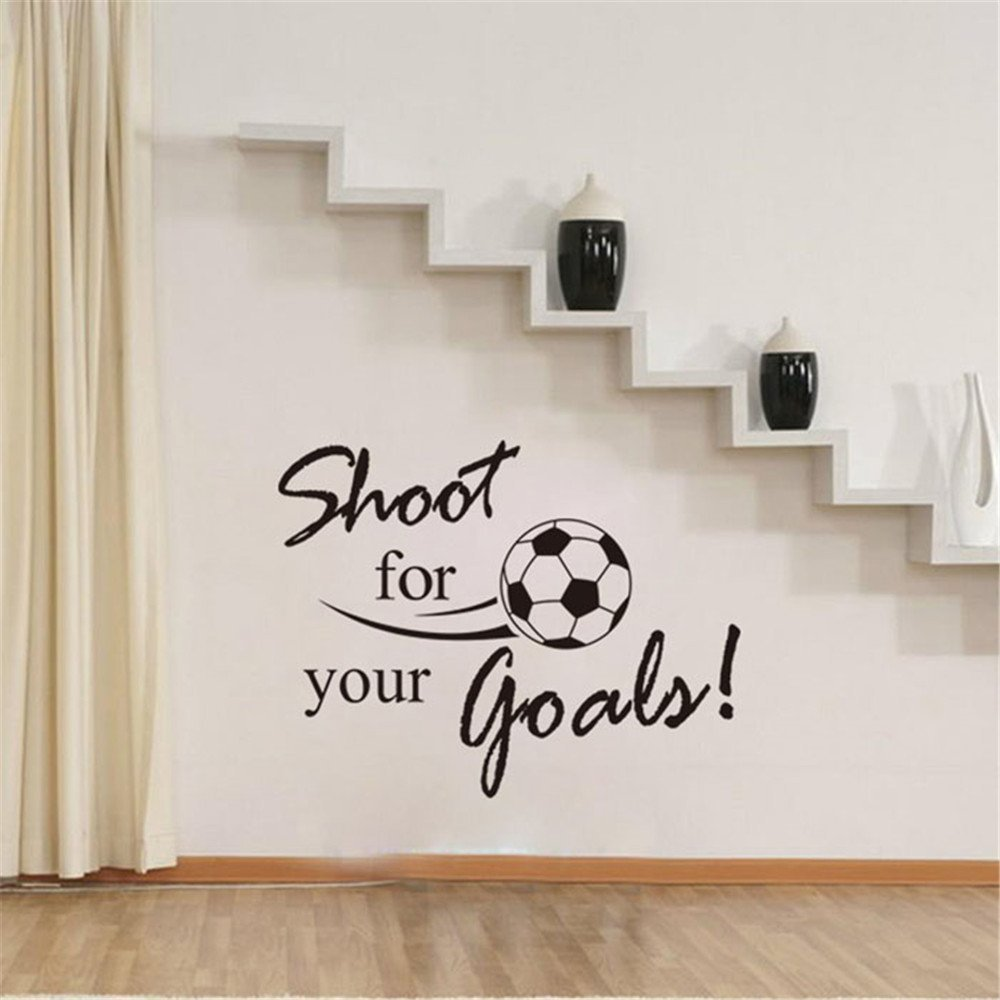 Allywit New Shoot For Your Goals Football Soccer Removable Decal Wall Sticker Home Decor