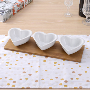 Restaurant party home heart shape bamboo base ceramic serving set dish