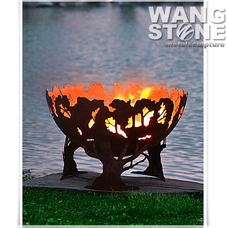 Antique Corten Steel Bowl Outdoor Fire Pit