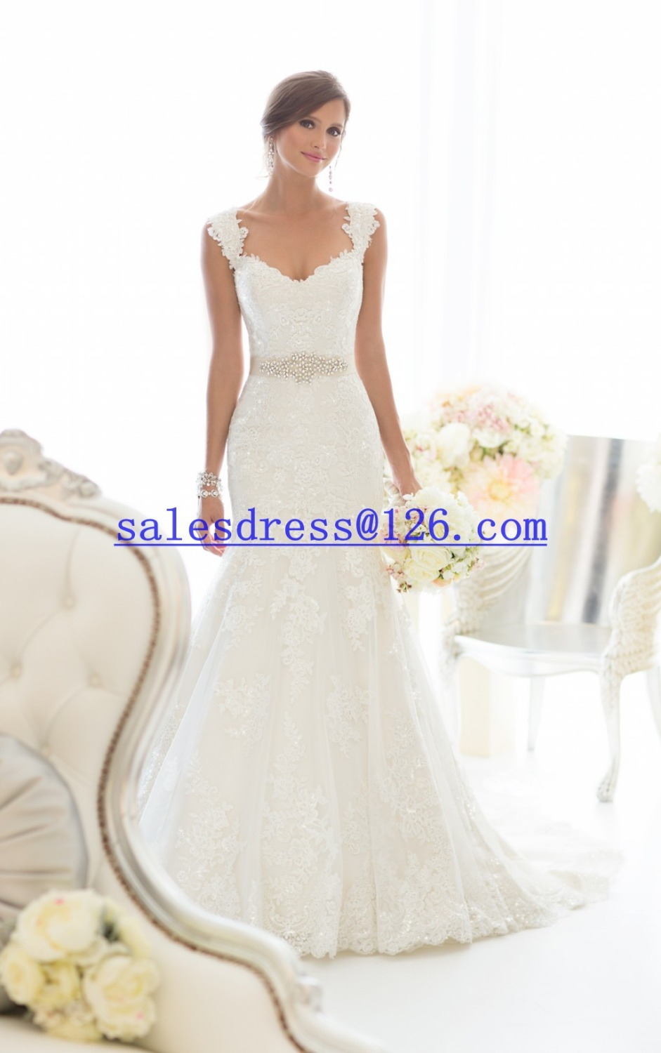 Vestido de noiva  romantic cap sleeves Mermaid Wedding Dresses Bead Belt Sexy vestido de casamento 2015 Bridal Gown
