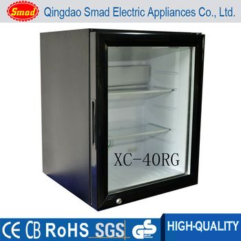 Noiseless Portable Table Top Glass Door Small Showcase Refrigerator - Small table top refrigerator