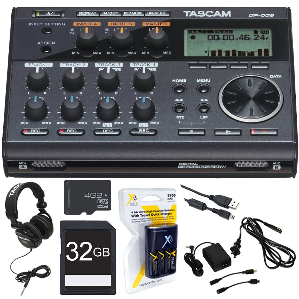 SD Card and More Tascam DP-006 6-track Digital Pocketstudio and Deluxe Accessory Bundle with Tascam Stereo Headphones FiberTique Cleaning Cloth Table Top Tripod