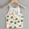 3D Fruit Pineapple Print Kawaii Cute Cotton Cropped Tops For Women