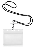 Waterproof Type Clear Plastic Horizontal Name Tag Badge ID card Holder with 1/8