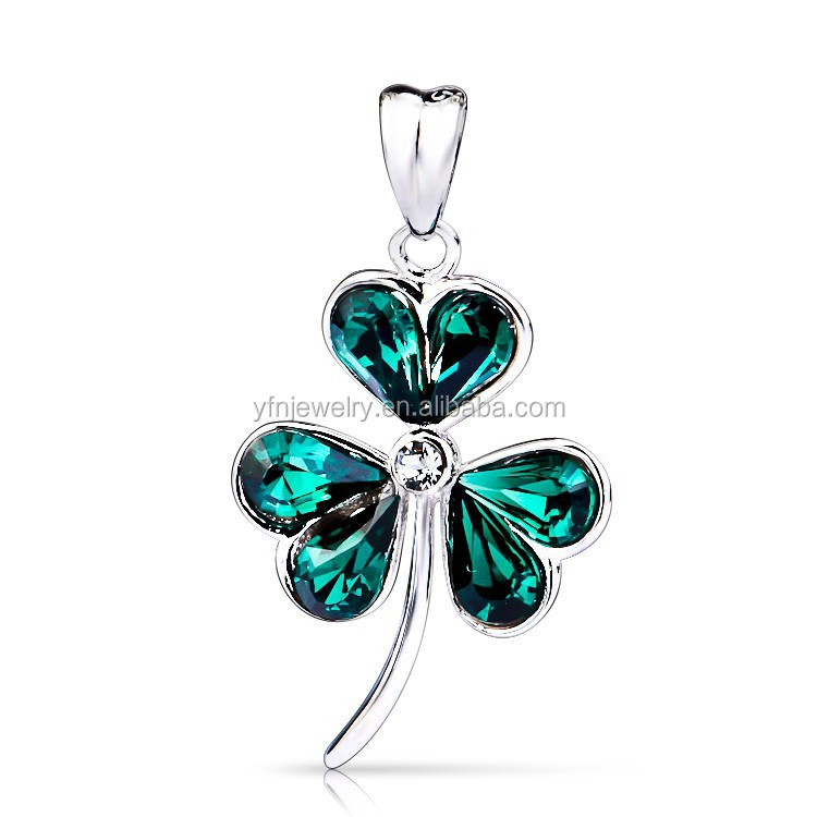 Pure Silver Three Leaf Clover Shamrock with Cubic Zirconia CZ Pendant Necklace