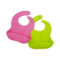 FDA approved Soft Baby Bibs, Waterproof Silicone Bib Easily Wipes Clean
