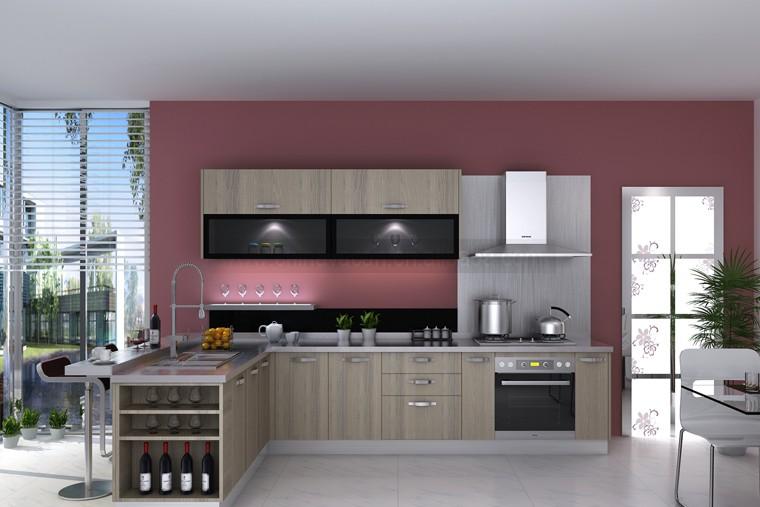 Desain Kabinet Dapur Melamin Dengan U Modern Dan Bingkai Aluminium Pintu Kaca