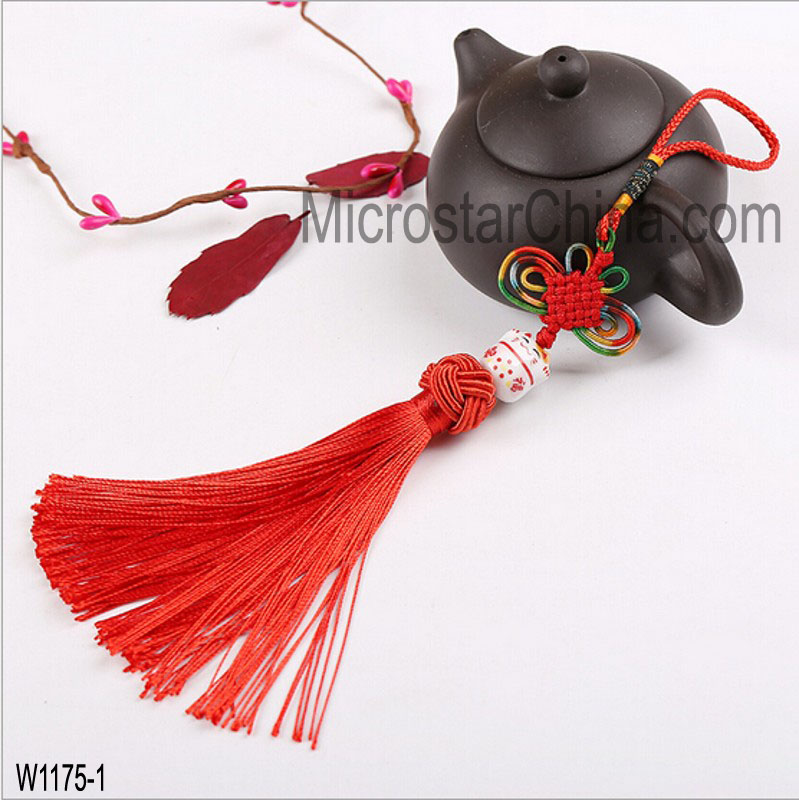 China Features Keep Us Safe Lucky Cat Hang Decoration With Tassal Car Pendant Chinese knot Pendant Feng Shui jewelry