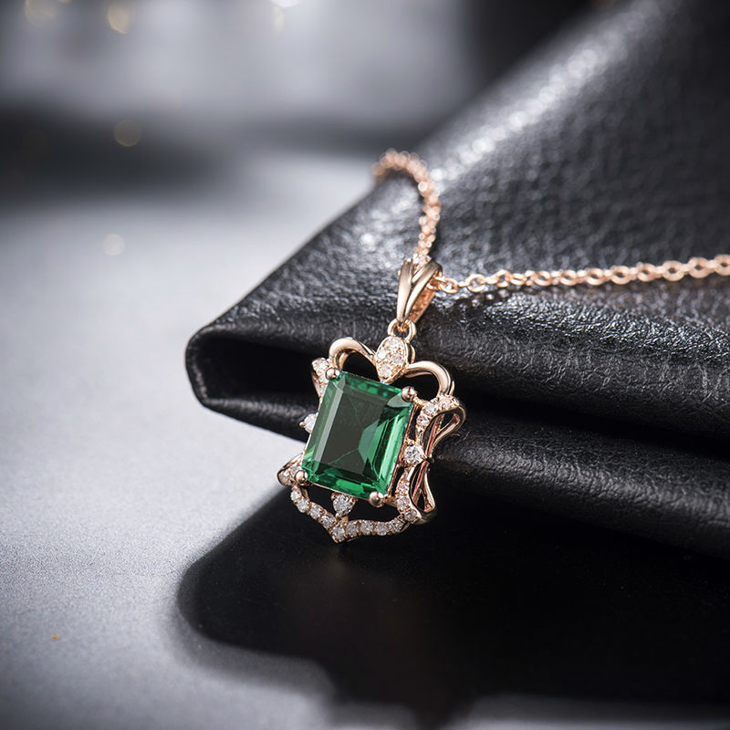 natural emerald pendant odyssey white diamond gold products crowne necklace